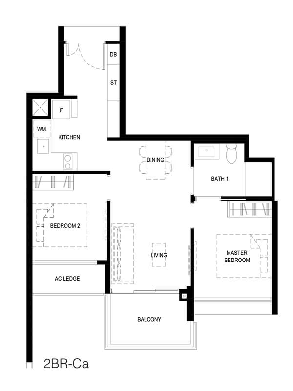 2 Bedroom Compact Type 2BR-Ca 656sqft